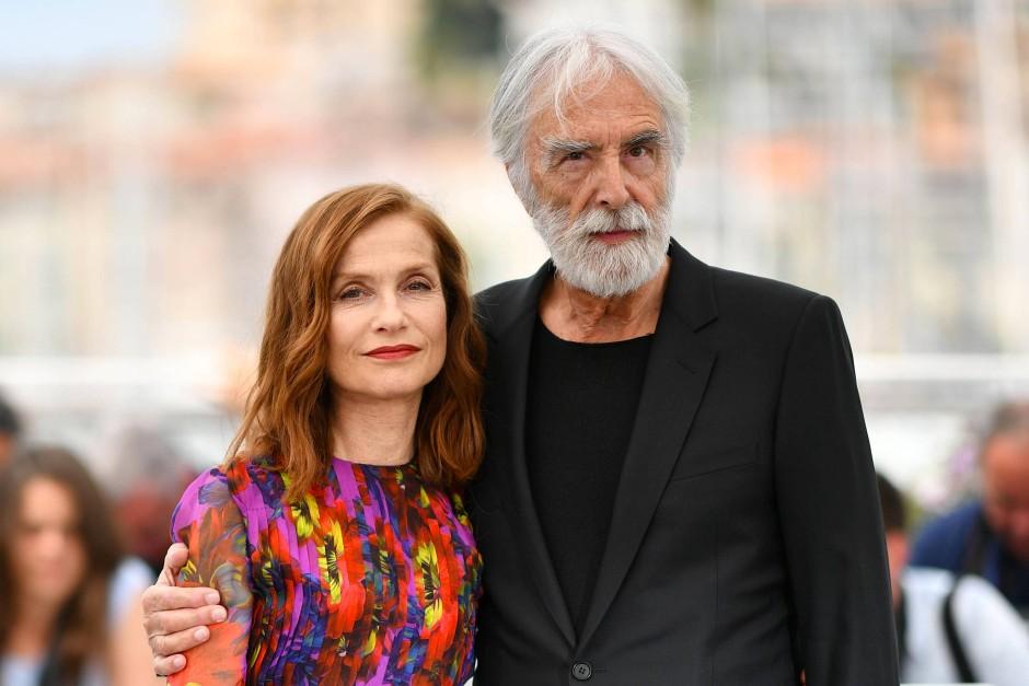 Regisseur Michael Haneke mit Isabelle Huppert in Cannes