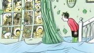 Das ist ein überraschender Ausblick im Voralpenland: Johann in den grünen Stiefeln erlebt sein blaues Wunder.