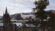 """Sightseeing anno dazumal: """"Blick von Babelsberg auf Schloss Glienicke"""" von Carl Daniel, um 1838"""