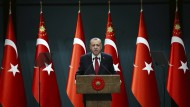 Recep Tayyip Erdogan bei einer Ansprache im Präsidentenpalast