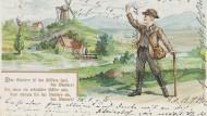 """Und jetzt alle: Liedpostkarte """"Das Wandern ist des Müllers Lust"""", 1902, Weltpostverein"""