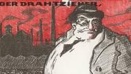 """Ging es etwa immer nur gegen England und Amerika? Plakat Reichstagswahlen 1924 mit Karikatur des """"kapitalistischen Juden""""."""