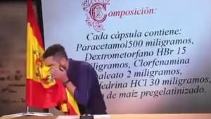 In die spanische Flagge geschneuzt