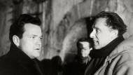 """Als Film bekannt: Der Schauspieler Orson Wells und der Regisseur Carol Reed im September 1948 in Wien bei den Dreharbeiten zu """"Der Dritte Mann"""""""