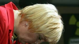 Claudia Roth of Germanys Green Party looks down after first exit polls in Duesseldorf