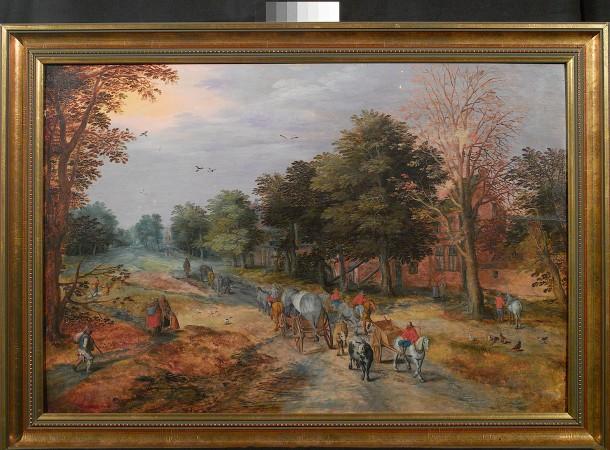 """r unter den lange vermissten Bildern: Jan Breughel d.Ä. """"Landstraße mit Bauernwagen und Kühen"""", um 1610."""