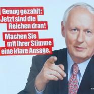 Populisten sind immer die Anderen: Plakat zur Landtagswahl im Saarland mit Oskar Lafontaine