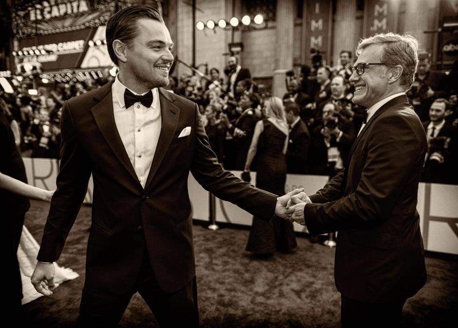 """Leonardo DiCaprio und Christopg Waltz - man kennt sich. Waltz: """"Ich habe da einen Platz. Den hatte ich hier nicht wirklich."""""""