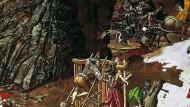 Nicht nur die Romanfiguren, wir alle sind dieser Niemand, wie er da hilflos und achselzuckend rechts vorne steht: Ausschnitt  aus Werner Tübkes Bauernkriegspanorama im thüringischen Frankenhausen.