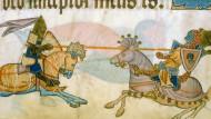 Kreuzritter gegen Muselmann, gedeutet als Kampf zwischen König Richard Löwenherz und Sultan Saladin: Buchmalerei aus dem englischen Luttrell-Psalter.