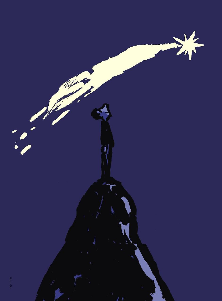 """Manche Dinge kann man sich nicht aussuchen, nicht mal beim Anblick einer Sternschnuppe oder eines Kometen: Illustration von Philip Waechter aus dem Buch """"Ich so du so""""."""