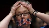 """Das amerikanische Schweigen: Demonstrantin bei einer Anhörung von Geheimdienstchefs zu """"World Wide Threats"""" im Februar in Washington"""