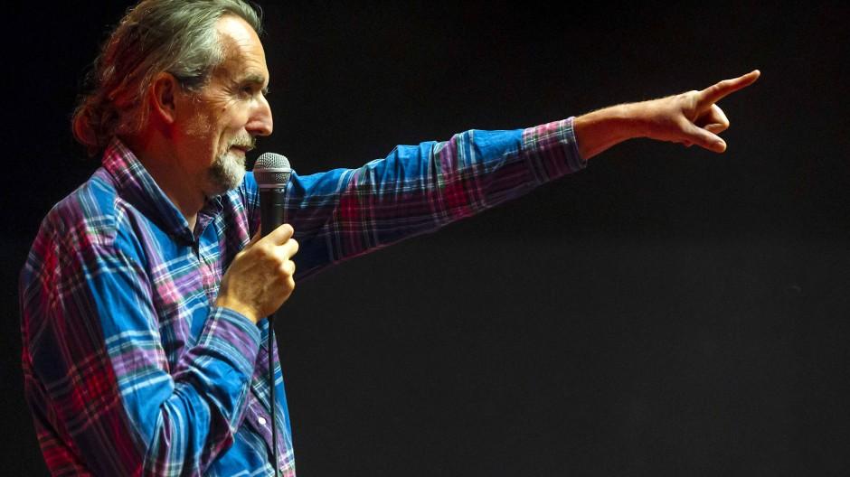 Roger Hallam, Mitbegründer von Extinction Rebellion, bei einem Treffen im Kriterion-Kino in Amsterdam.