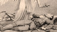 Die pseudoreligiöse Aufladung des Soldatentodes – hier ein Gedenkblatt von 1915 – trieb der Erste Weltkrieg ins Extrem. Auch darauf konnte Hitler 1939 zurückgreifen, als er die weltgeschichtliche Mission der Deutschen im neuen Völkerkampf beschwor