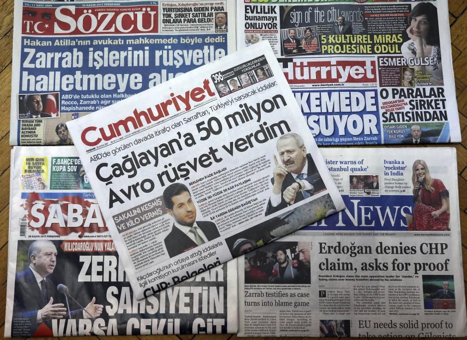 Wieder auf der Titelseite: Türkische Zeitungen über Zarrabs Aussagen vor dem New Yorker Gericht.