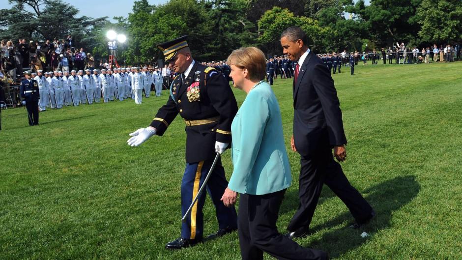 Ehrenvoller Empfang: Bundeskanzlerin Merkel im Juni 2011 bei dem Besuch im Weißen Haus, als sie die Freiheitsmedaille erhalten hat