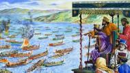 """Xerxes schaut entgeistert zu, wie die griechische Allianz seine Flotte versenkt; illustriert von """"Look and Learn"""""""