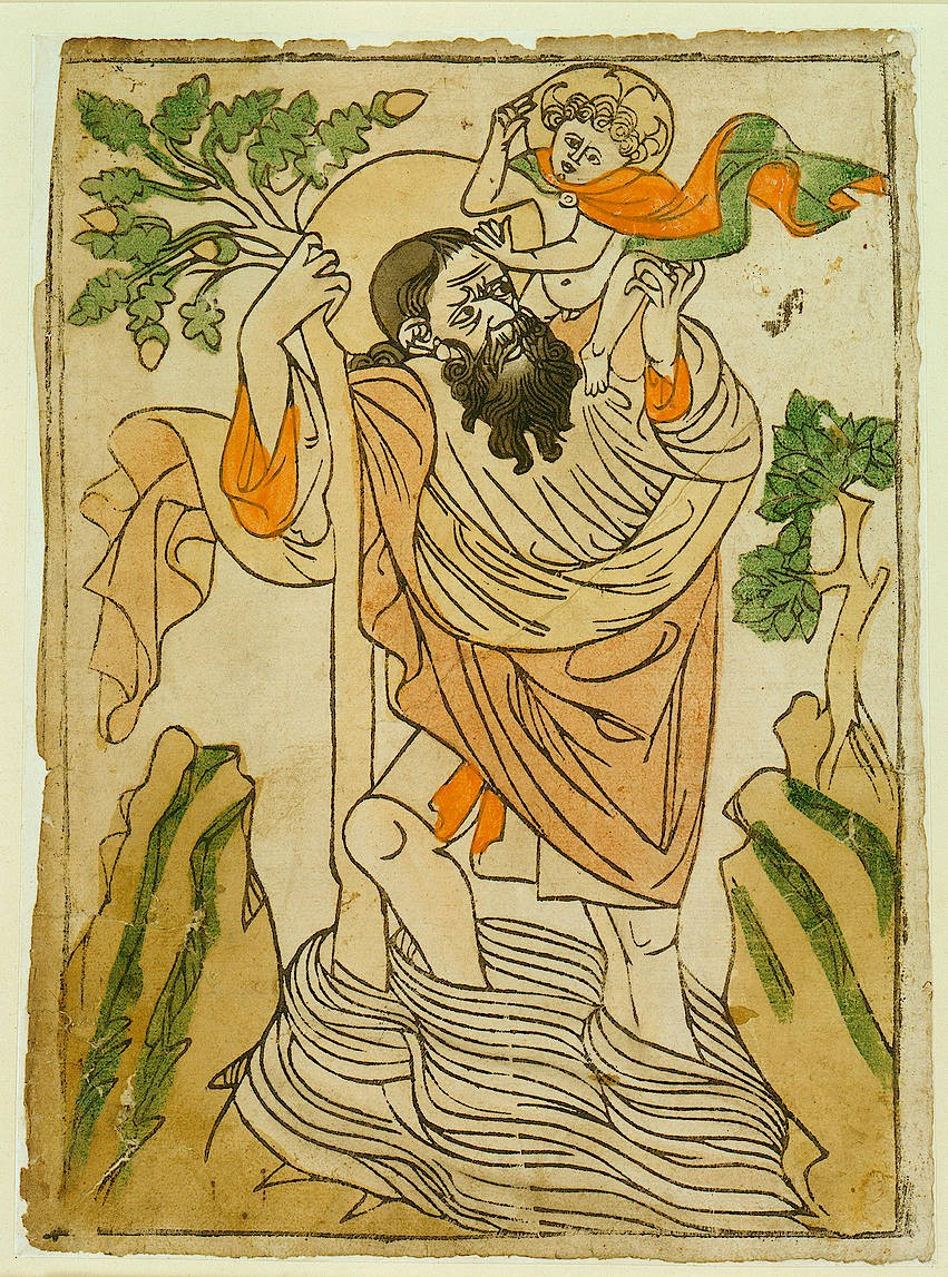 """Durch solche einfach kolorierten Holzschnitte und die im 15. Jahrhundert erfundenen Kupferstiche auf nun viel erschwinglicherem Papier konnten neue Bildideen quer durch Europa zirkulieren: """"Heiliger Christopherus"""" eines Meisters vom Bodensee, um 1430."""