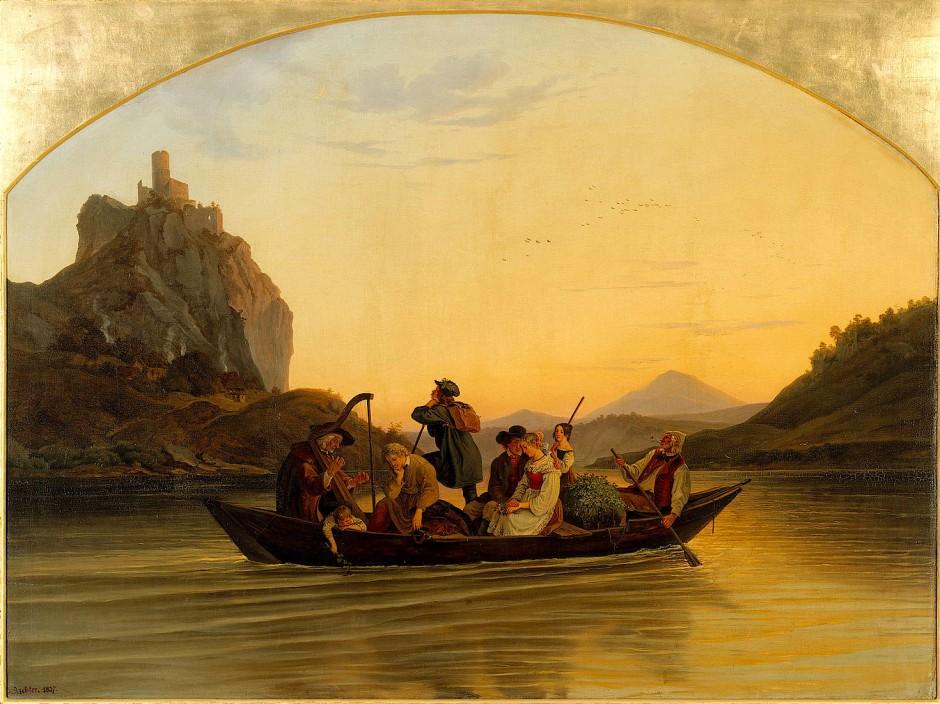 """Drei Generationen in einem Boot, Zukunft ungewiss: Adrian Ludwig Richters """"Die Überfahrt am Schreckenstein"""" von 1837."""