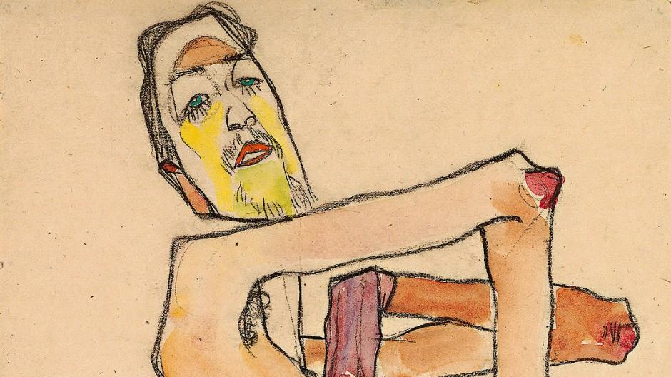 Als Akt mit überkreuzten Armen und wie durchröntgten Fingern hielt Schiele den stets etwas exaltierten Künstlerfreund Erwin Dominik Osen 1910 fest.