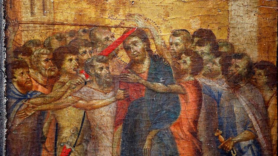 """24 Millionen Euro für 24 Zentimeter und 20 Figuren: Cimabues """"Verspottung Christi"""" von etwa 1280, hing jahrelang bei einer alten Frau im nordfranzösischen Compiègne über dem Herd"""