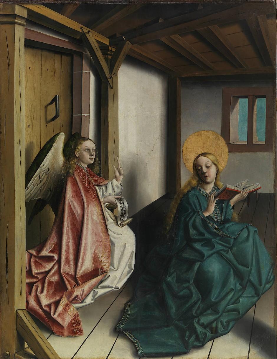 """Während alle anderen Maler ihre Interieurs mit Dutzenden von Stehrummchens ausschmücken, sind bei ihm die kahlen und rissigen Wände erst noch mit Leben zu füllen, dem nämlich des im nächsten Moment inkarnierten Gottessohns: """"Verkündigung an Maria"""" von Konrad Witz, um 1440."""
