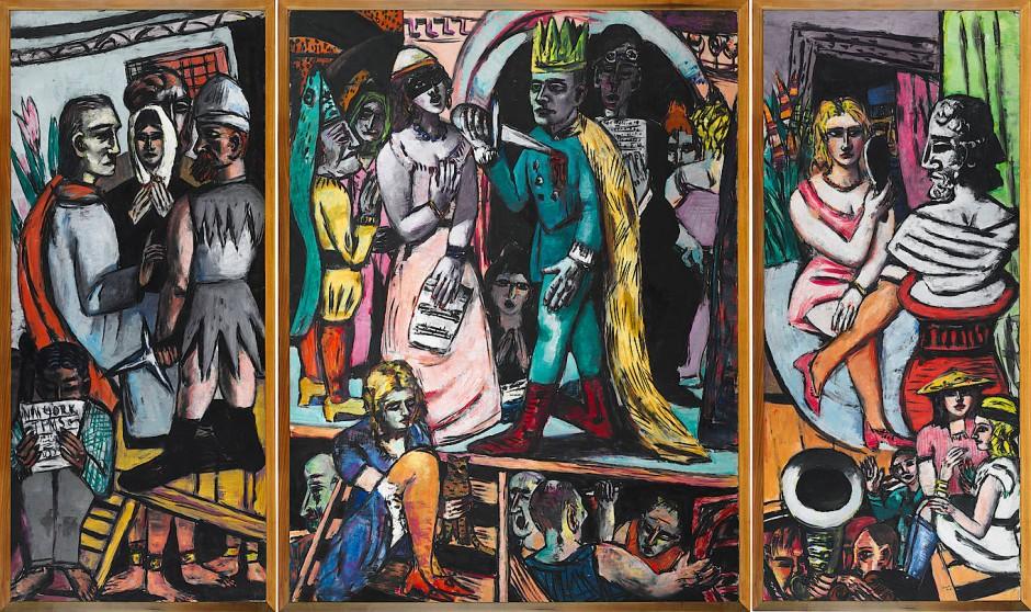 """Das gesamte Weltendrama auf einer Bühne: Max Beckmanns Triptychon """"Schauspieler"""" von 1941/42 befindet sich heute im Harvard Art Museums."""