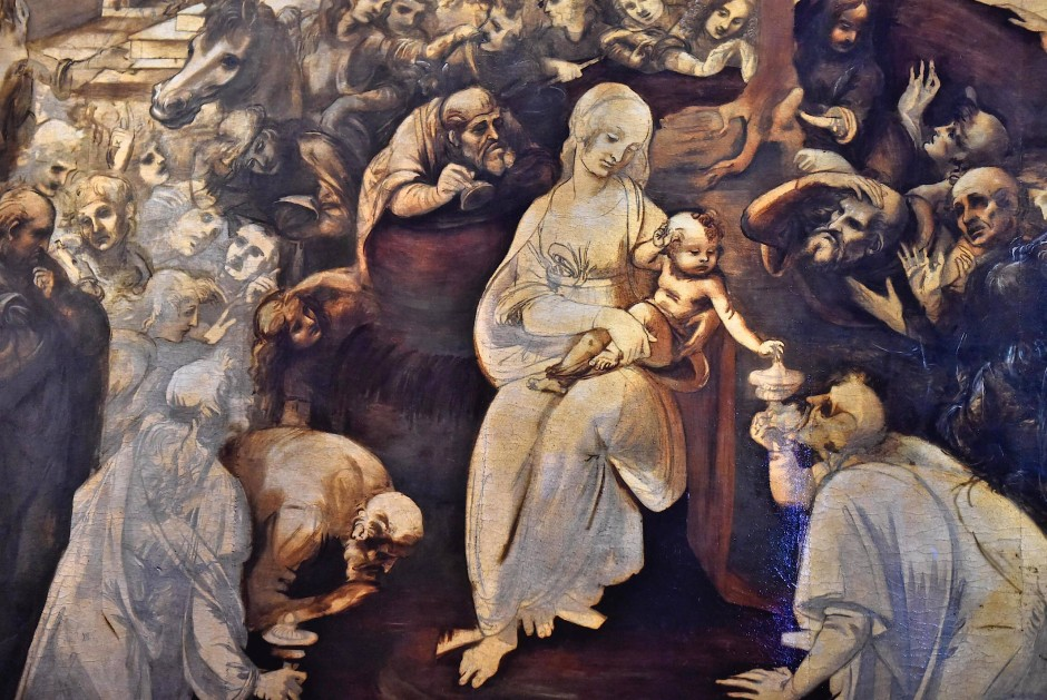 """Mit viel Fingerspitzengefühl und Zurückhaltung wurde Da Vincis """"Anbetung der Könige"""" restauriert."""