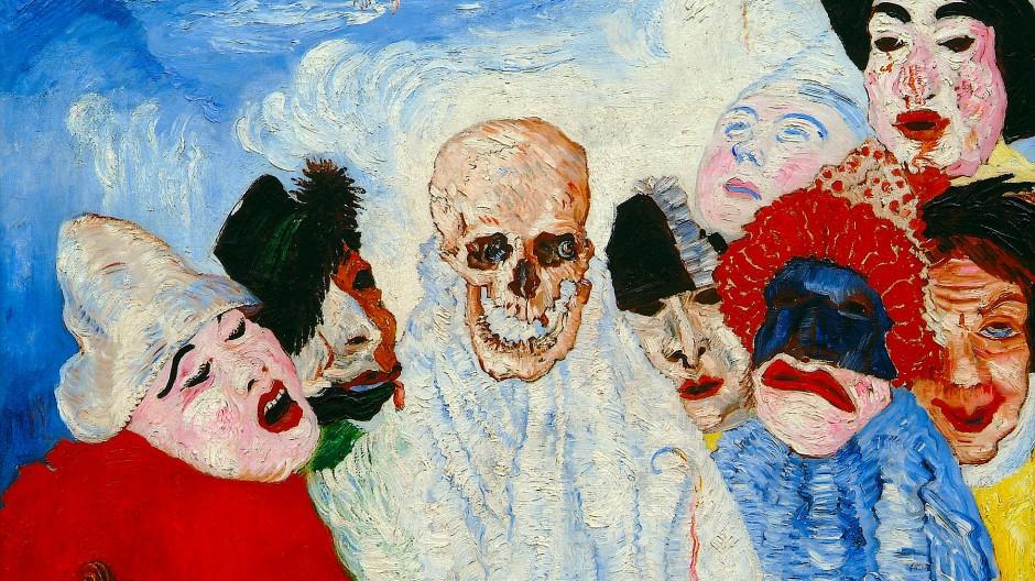 """Wo zwei oder drei in seinem Namen versammelt sind: James Ensors """"Der Tod und die Masken"""" (1897) aus Lüttich, ehedem in Mannheimer Besitz."""