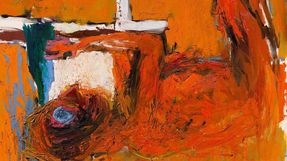 """Georg Baselitz, """"Gebeugter Trinker"""", 1982, Öl auf Leinwand, 250 mal 200 Zentimeter: Taxe 4,5/6,5 Mio. Pfund."""