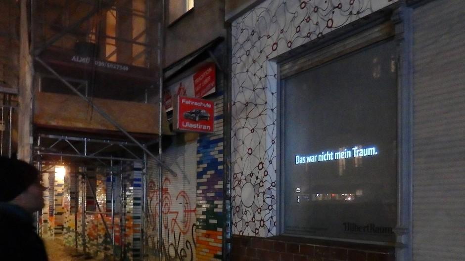 """Die Kunst-Projektion """"Kunst im Traum"""" war im HilbertRaum zu sehen. Artwork von Maurice Doherty."""