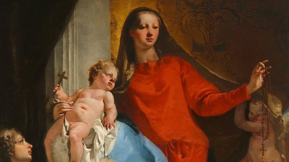 """Gianbattista Tiepolo, """"Rosenkranzmadonna mit Engeln"""", 1735, Öl auf Leinwand, 246 mal 156 Zentimeter, Zuschlag 17 Millionen Dollar (18.349.000 Dollar)."""