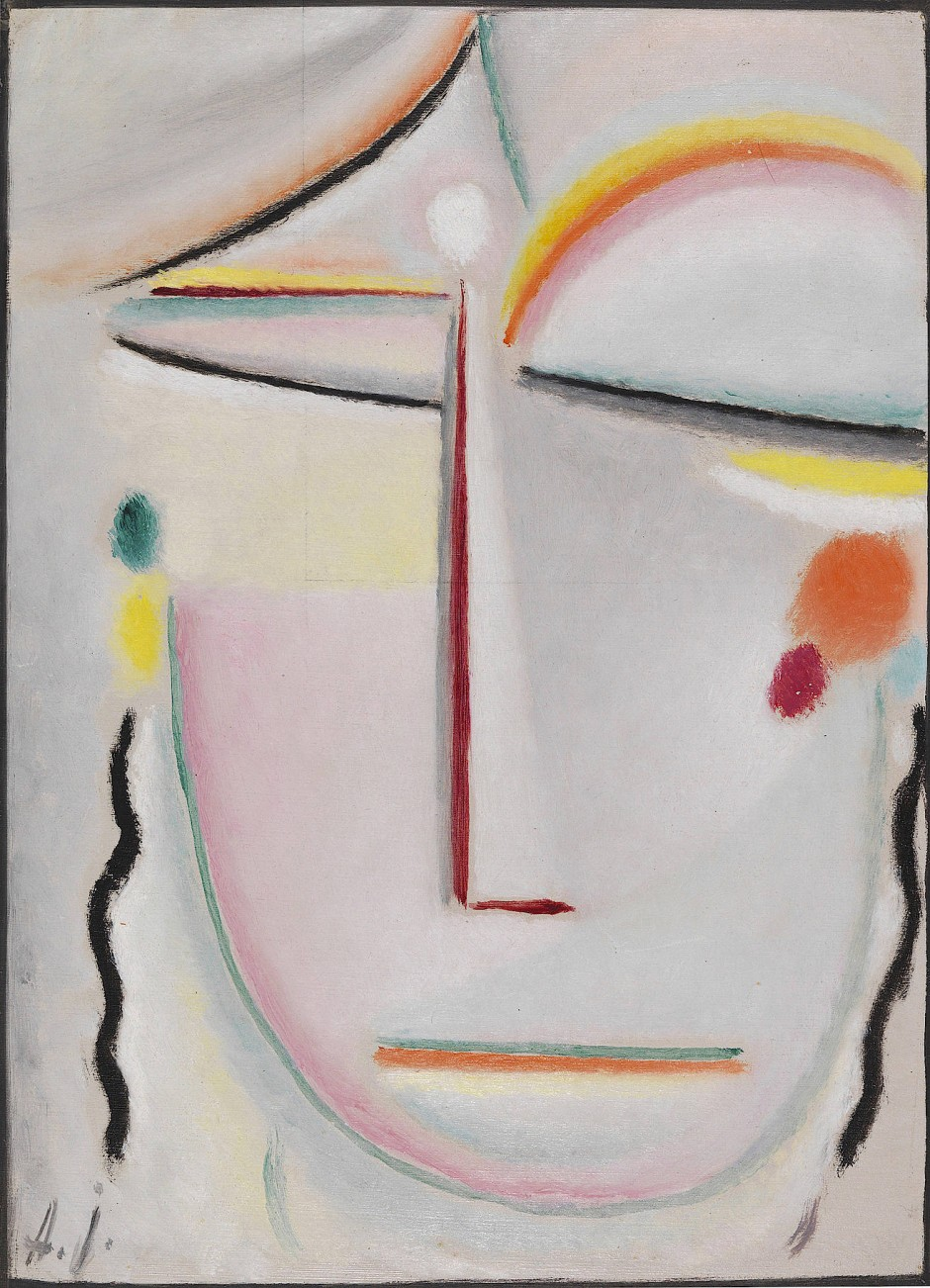 """Zuerst: Alexej von Jawlenskys abstrakter Kopf: """"Erleuchtung II"""" von 1919. Öl auf Papier, , 36,7 x 26,6 cm, Taxe 200.000/300.000 Euro."""