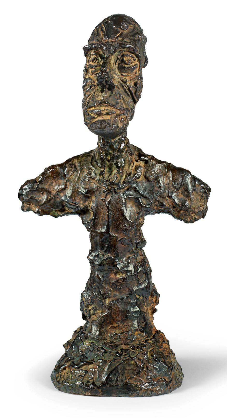 "Bildnis seines Bruders Diego: Alberto Giacometti, ""Buste d'Homme (New York II)"", 1965, Bronze, Guss 1972, 46 Zentimeter hoch, Taxe 1,5 Millionen Franken."