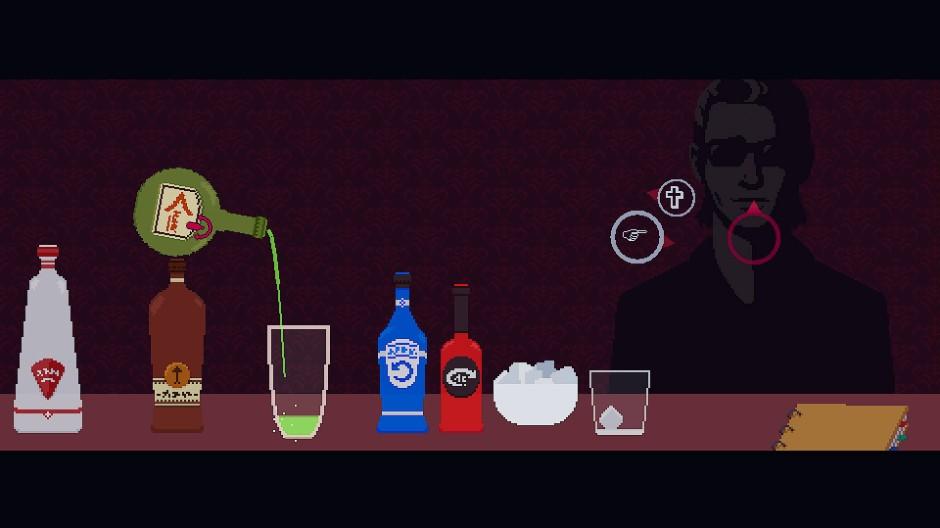 Durch seine Mix-Kunst lenkt der Spieler das Gespräch in die richtige Richtung: Treibt er den Gast mit einer Absinth-Mischung in den Wahnsinn, oder hebt er das Selbstwertgefühl mit ein bisschen Bourbon?