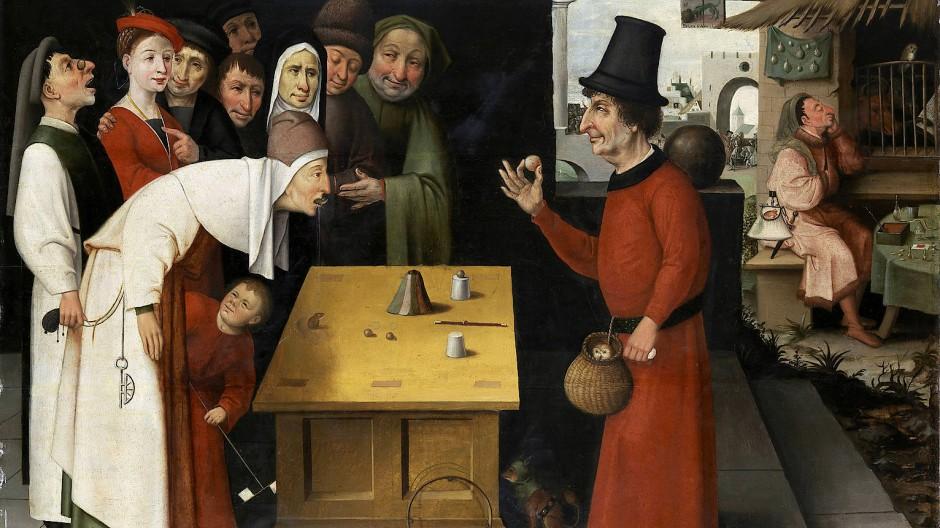 Dieser Täuschungskünstler hat sein Publikum im Griff: Hieronymus Boschs Gemälde Der Scharlatan.