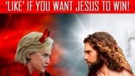 Hillary Clinton als Teure in Menschengestalt gegen Jesus: So sah eine der Anzeigen im Netz aus, die nun vor dem amerikanischen Senat und von der Demokratischen Partei präsentiert wurden.