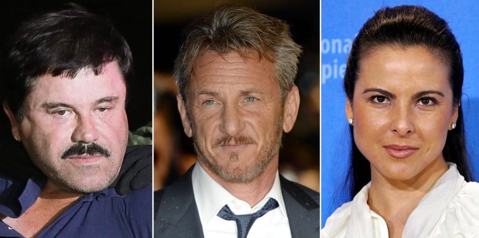 Sprachen im Geheimen: Joaquin Guzman (links), Sean Penn und die mexikanische Schauspielerin Kate del Castillo.