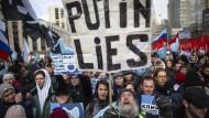 Moskau, am 10. März dieses Jahres: Demonstranten protestieren gegen das neue russische Internetgesetz.