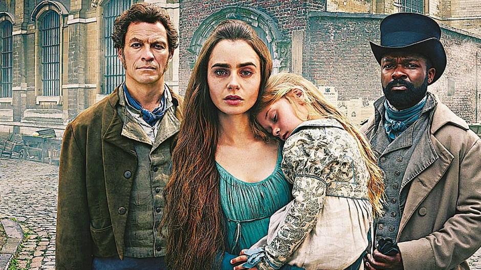 "Das Ensemble von ""Les Misérables"": Dominic West, Lily Collins und David Oyelowo (von links)."