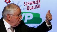 Daumen hoch, es sei denn, die Bürger stimmen gegen seine Partei: Die Einlassungen des SVP-Politikers Christoph Blocher sind stets von ganz besonderer Qualität.