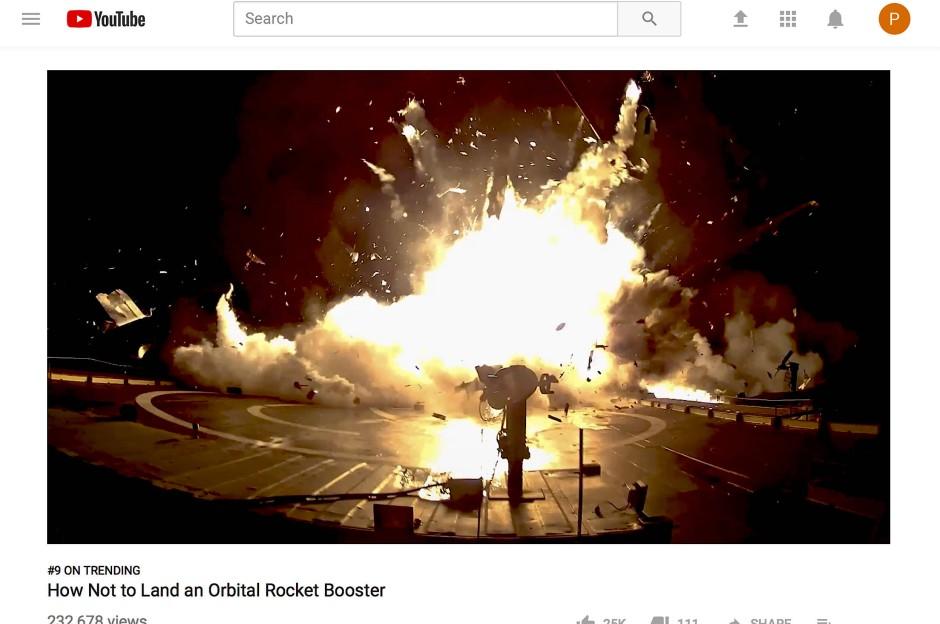 Geht ein Raketentest schief, trägt Elon Musk es mit Fassung: Diesen gescheiterten Versuch von SpaceX stellte Musk selbst bei Youtube ein: So sollte man besser nicht landen, hieß es.