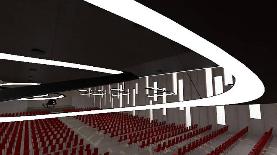 So könnte es in dem geplanten mobilen Konzertsaal aussehen: Entwurf von Tanja Labs.