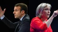 Er gegen Sie: Emmanuel Macron und Marine Le Pen haben das französische Fernsehen heute Abend für sich.