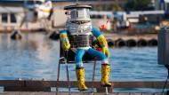 Angekommen: Hitchbot im Hafen von Victoria, Vancouver Island