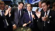"""New York Stock Exchange vor zwei Monaten: Patrick Drahi feiert den Börsengang der amerikanischen Tochterfirma seines Konzerns """"Altice""""."""