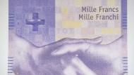 Mit einem Gegenwert von aktuell 883 Euro ist die 1000-Franken-Note der teuerste noch produzierte Geldschein der Welt.