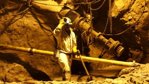 A mine worker is seen underground in South Deep mine outside Johannesburg
