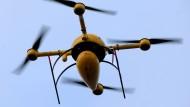 DHL-Drohne auf dem Weg nach Juist. Im Gepäck sind Medikamente.