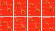 """Die Entwicklung der Weltbörsen seit Mitte Juni, dem Start des F.A.S.-Börsenspiels """"Schlag den Meck"""""""